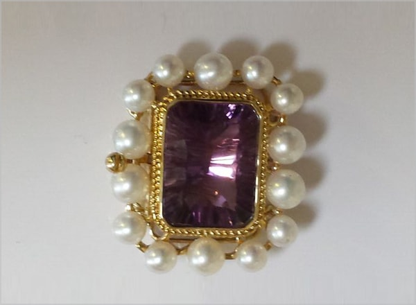9ct YG clasp with either Amethyst centre stone