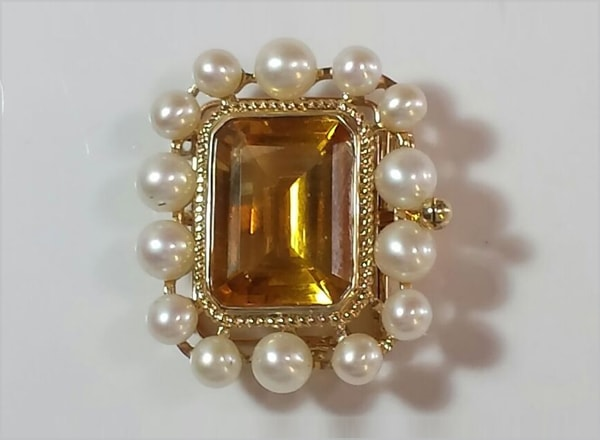 9ct YG clasp with Citrine centre stone