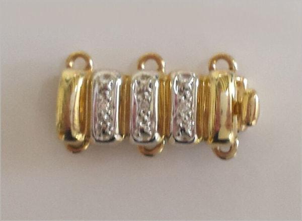 9ct YG diamond- set clasp