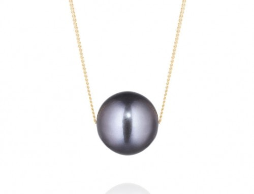 Black sliding freshwater pearl on 9ct yellow gold fine curb chain