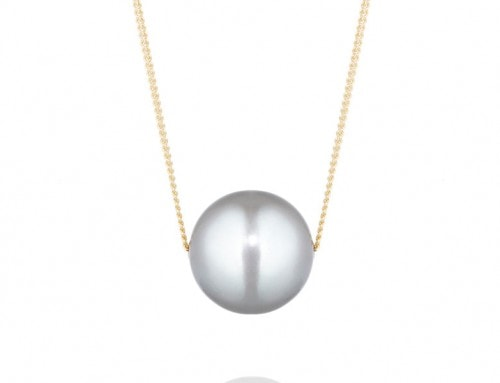 Grey sliding freshwater pearl on 9ct yellow gold fine curb chain