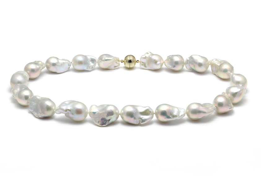 18-26mm nucleated baroque freshwater pearl necklace with 12mm yellow gold magnetic clasp