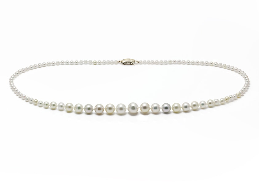 Stunning natural colour Akoya cultured pearl graduated necklace
