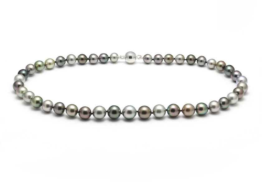 Mixed natural colour Tahitian pearl necklace with a white gold magnetic clasp
