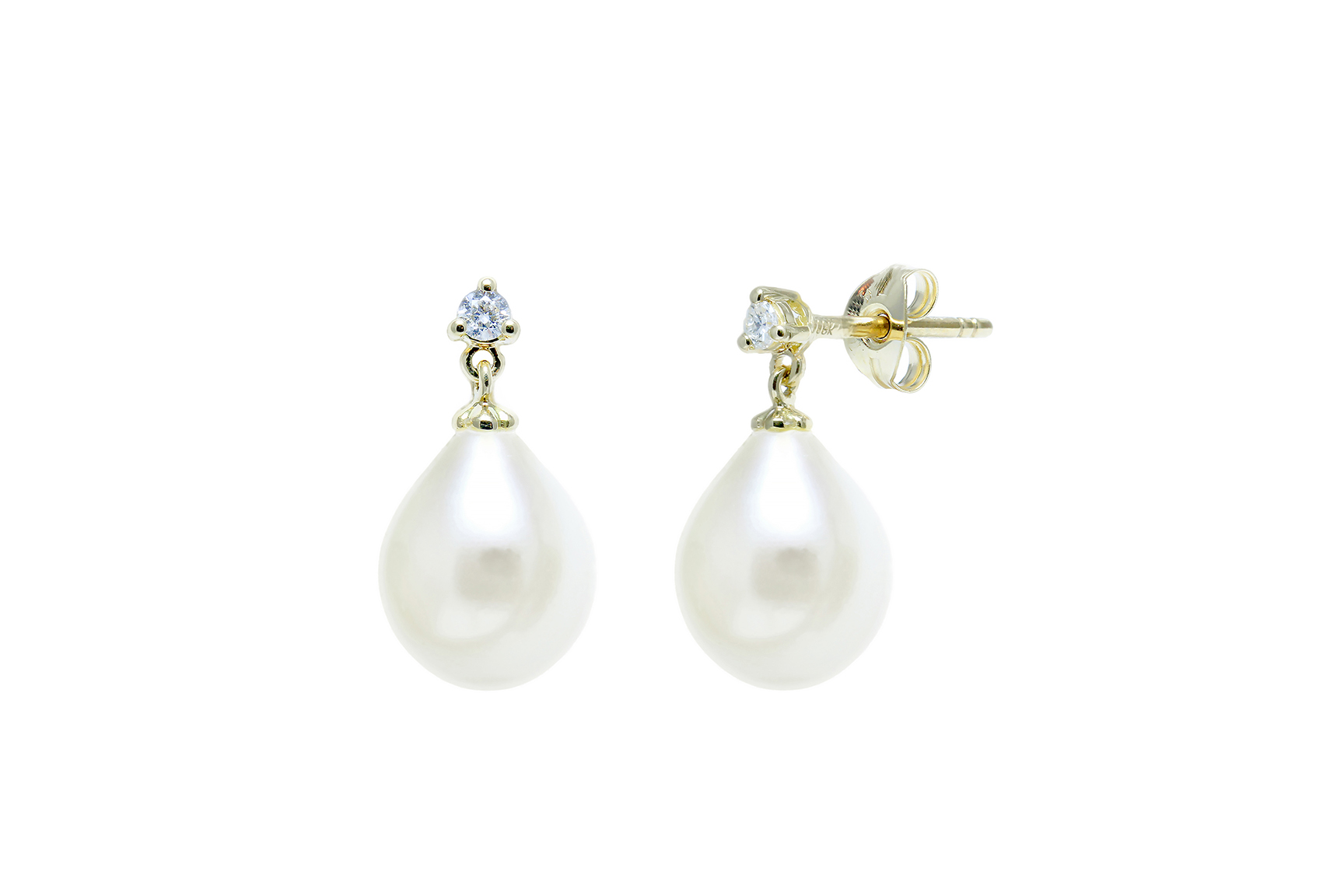 18ct yellow gold diamond set earrings with 9mm+ freshwater teardrop pearls