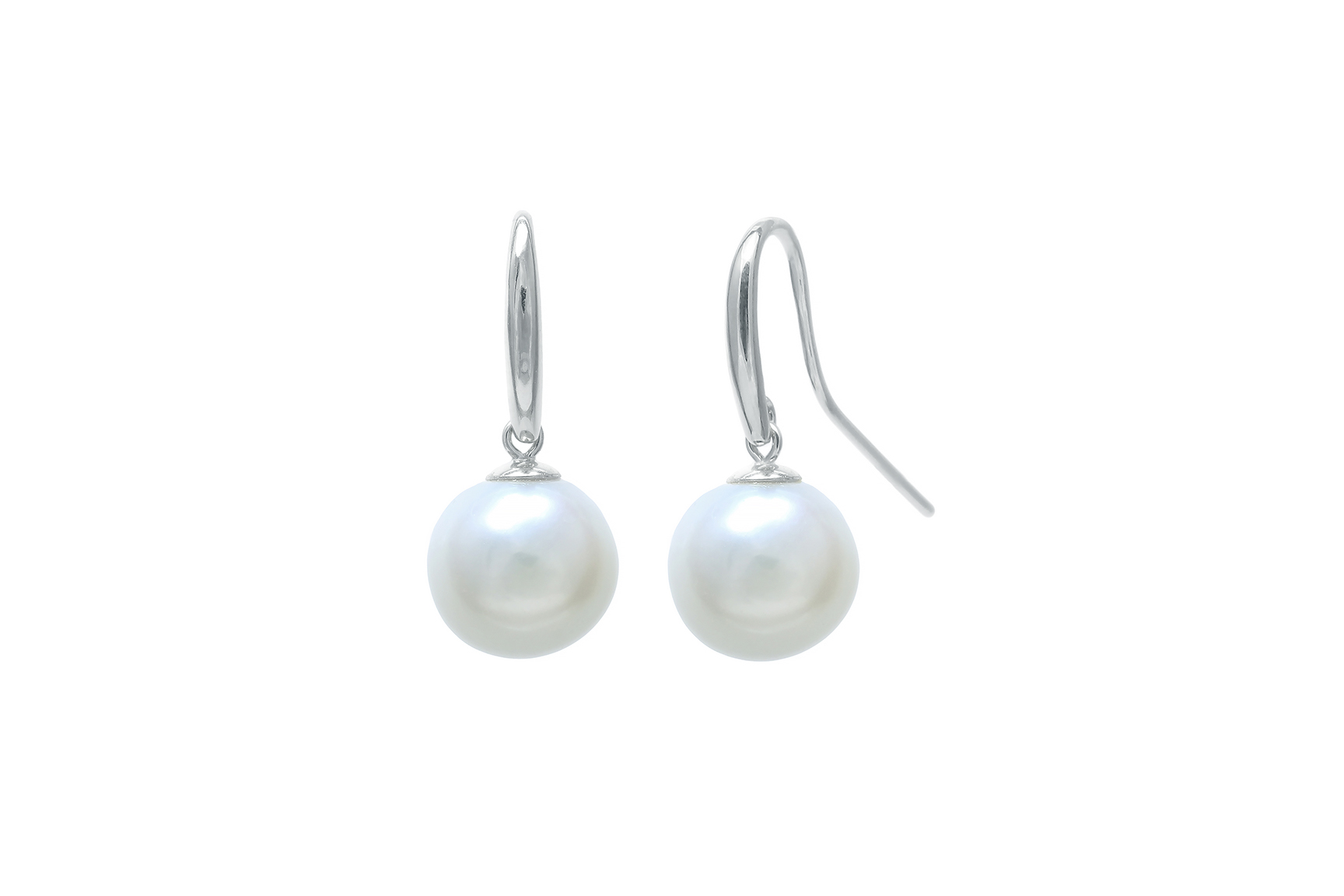 Shepherds crook & cap 10mm nucleated freshwater pearl earring drops on 9ct white gold fittings