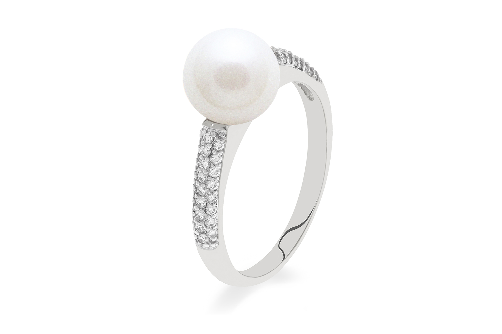 18ct white gold diamond set ring with akoya pearl