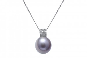 14-15mm nucleated cultured river pearl pendant on 18ct white gold diamond fitting