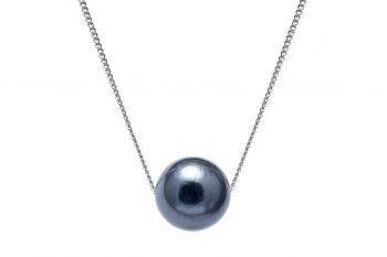 "Sliding Tahitian pearl on 9ct white gold 18"" curb chain"