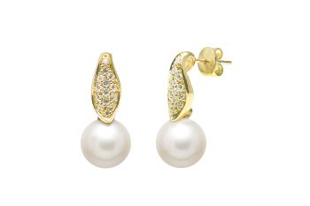 Cultured river pearl 10-10.5mm diamond set earring drops.