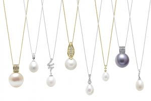 Cultured River Pearl Diamond Set Pendants