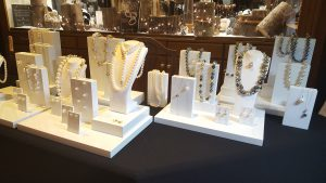 Raw Pearls' beautiful collections on display at Gatwards of Hitchins' 'Gin and Gemstones' evening.